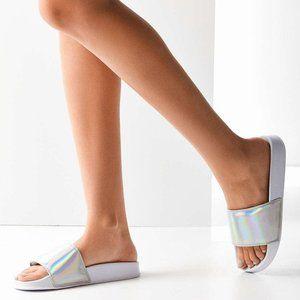Holographic white slide sandals